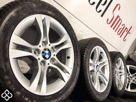 "NEW GENUINE BMW 16"" ALLOY WHEELS & TYRES - 5 X 120 - 225 50 16 - GLOSS SILVER - Wheel Smart"