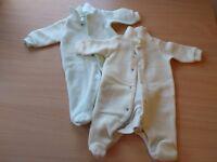 Fleece long sleeve sleep suits x 2 (yellow & green) - Newborn