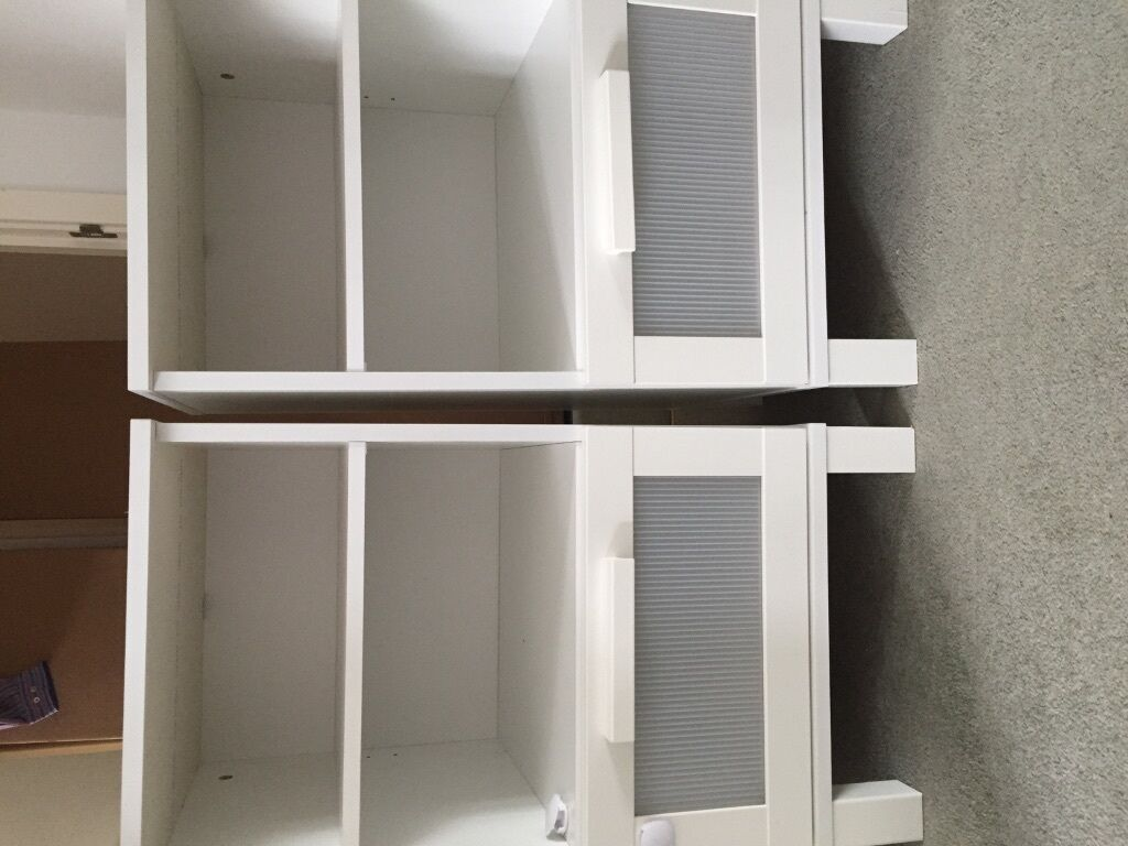 Pair of ikea white bedside tables in camberley surrey gumtree