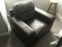 Big brown leather armchair