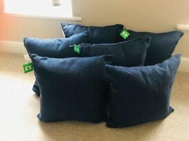 6x Dunelm blue barkweave cushions