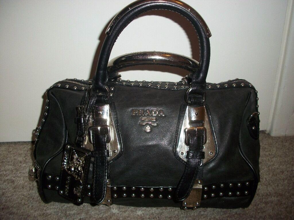 983d2d844e7e Authentic Prada Black Nappa Leather Studded Trunk Bauletto Totte Bag