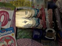 Helium balloons , weights, ribbon & accessories