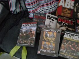 BOXING DVDs X 15 AND 3 BOOKS