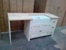 Solid Pine Belfast Sink Base Unit + Appliance Housing Wood Living