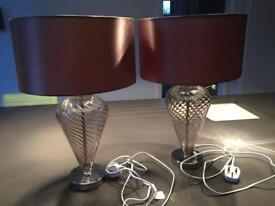 Pair of glass based lamp/shades