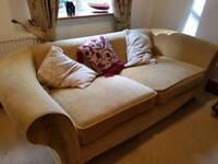 Sand coloured fabric Sofa and armchair