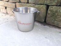 Budweiser Beer Ice Bucket Drinks Cooler Chiller Lager Metal Stainless Steel BBQ