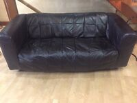 3-seater black leather IKEA sofa - good condition
