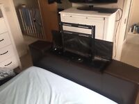 Brown faux leather TV double Bed