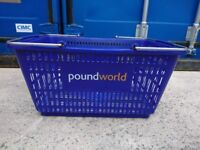 Used Blue Shopping Basket With Metal Handle - £3 Each