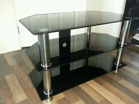 Black Glass & Chrome Legs Corner Table - TV Stand for up to 40 Inch TV