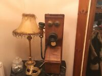 Solid wood antique phone