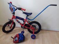 "Spiderman Boys Bike 14"" Inch Wheels + helmet & balance stick"