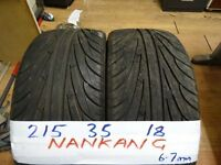 matching pair 215 35 18 NANKANGS 6-7mm TREAD £80 PAIR SUP & FITD (LOADS MORE AV 7-DAYS)