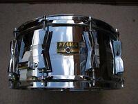 "Tama PL106 Powerline seamless steel Granstar snare drum 14 x 6 1/2"" - '80s' Japan"