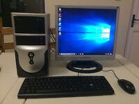 "Windows 10 Computer System, Dual Core, 4GB, 320GB, 19"" Monitor, PC, Desktop"