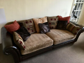 2 x DFS Sofa - Leather & Fabric - Excellent condition - Settee