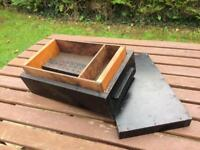 Vintage wooden toolbox carpenters toolbox