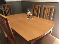 Extendable beech dining table and 6 chairs