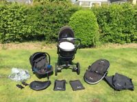 Silver Cross Surf 2 Travel System inc Carrycot, Pushchair and Car Seat with adapters and extras