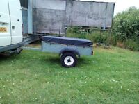 Small Galvanized Box Trailer 4x3 with cover and lights.