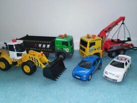 Items £5 - toy trucks air pump vehicles bundle of 5 large vehicles