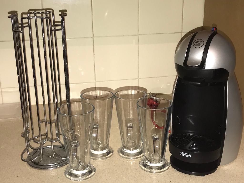 Coffee machine, 4 latte glass and pod stand
