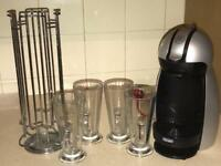 Coffee machine, 4 latte glass and pod stand