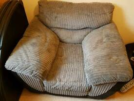 Barely used grey and black squishy comfy chair from DFS