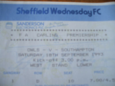 TICKET Sheffield Wednesday v Southampton 18-9-1993