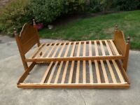Pine bed and pull out bed