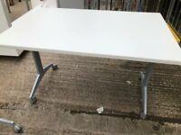 Set of 6 Tilt Top tables - white finish - quality locking mechanism.