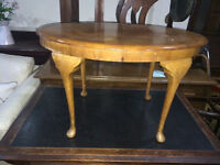 Sweet Little Vintage Walnut Veneer Oval Coffee Table