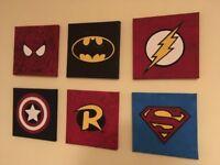 6 handpainted Superhero canvas - Superman, Spiderman, Batman Marvel