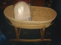 Moses basket with brand new mattress