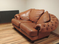 Chesterfield Tan Unique quality leather sofa (Delivery)