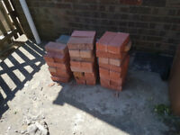 red rough faced bricks