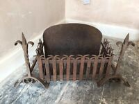 Two iron firedogs/Andiron and grate