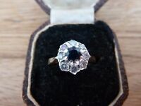 9ct Gold Diamond and Blue Sapphire Cluster Ring