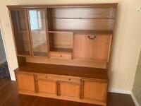 MEREDEW large glazed Teak display cabinet with drawers & illumination inside