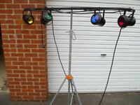 "4 white spot lights with coloured celluloid insets with tripod and 12"" mirror ball"