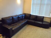 6/7 seater large brown leather corner l shape modern left / right suit sofa chase DELIVERY AVAILABLE