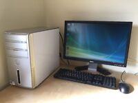 "Dell Inspiron 530 desktop PC + 22"" flat screen monitor + keyboard + mouse."