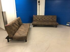 FREE DELIVERY ! NEW ! Ex-display ! 2 X CHARLES FAUX SUEDE LEATHER VINTAGE STYLE SOFABED