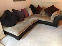 Five piece corner leather and fabric sofa