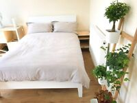 Comfy IKEA Double Bed frame, mattress and slats (as new)