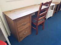 Rustic Pine Desk with 2 large drawers