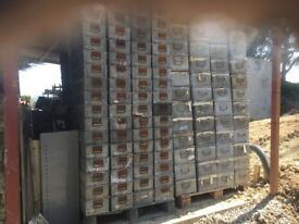 Large quantity of stacking galvanised parts bins c/w2 end handles in many sizes,some racks and in ++