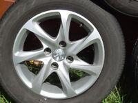 Details about PEUGEOT 208 ALLOY WHEELS 7 SPOKE 185/65/15 207 206 307 308 BRIDGESTONE Tyres